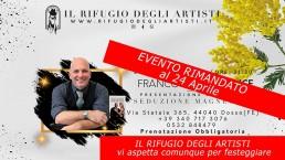 8 Marzo 2020: ospite speciale Franco Trentalance al Rifugio degli Artisti - EVENTO RIMANDATO al 24 APRILE