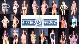 Sfilata in costume da bagno delle concorrenti del Miss Trans Europa 2021